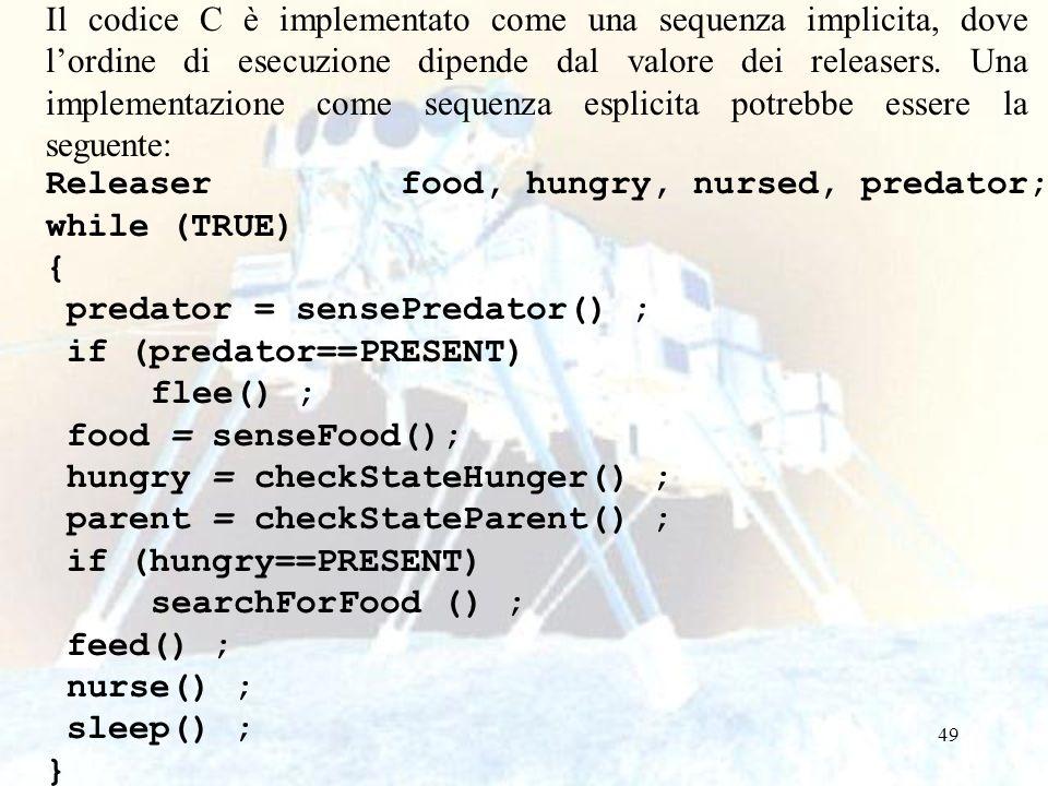 49 Il codice C è implementato come una sequenza implicita, dove lordine di esecuzione dipende dal valore dei releasers. Una implementazione come seque