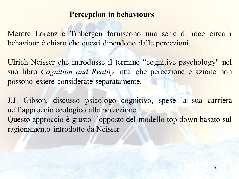 55 Perception in behaviours Mentre Lorenz e Tinbergen forniscono una serie di idee circa i behaviour è chiaro che questi dipendono dalle percezioni. U