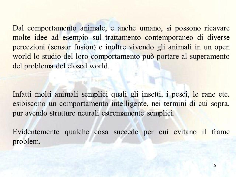 6 Dal comportamento animale, e anche umano, si possono ricavare molte idee ad esempio sul trattamento contemporaneo di diverse percezioni (sensor fusi