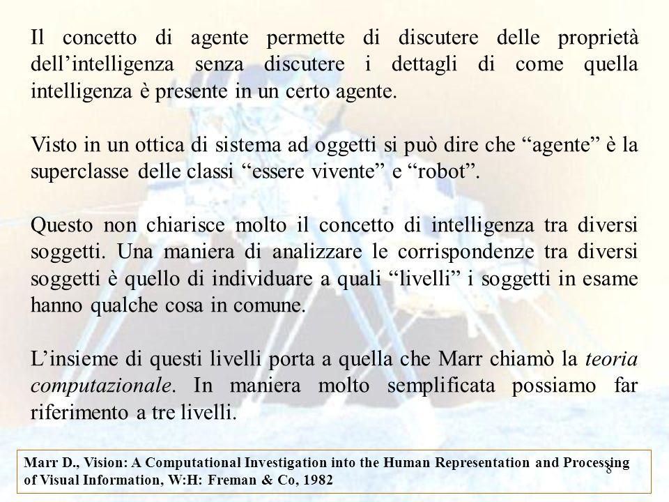 8 Il concetto di agente permette di discutere delle proprietà dellintelligenza senza discutere i dettagli di come quella intelligenza è presente in un