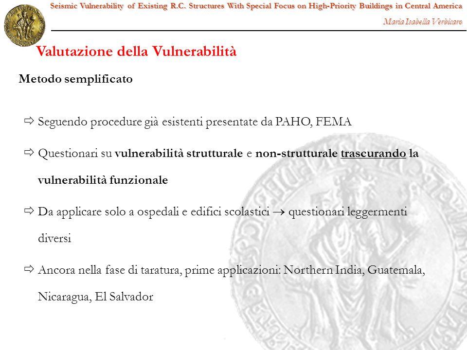 Seguendo procedure già esistenti presentate da PAHO, FEMA Questionari su vulnerabilità strutturale e non-strutturale trascurando la vulnerabilità funz