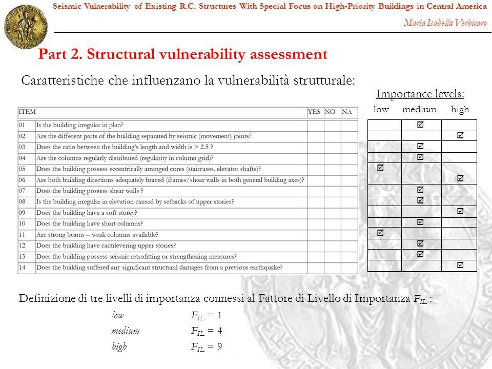 low medium high Definizione di tre livelli di importanza connessi al Fattore di Livello di Importanza F IL : low F IL = 1 medium F IL = 4 highF IL = 9