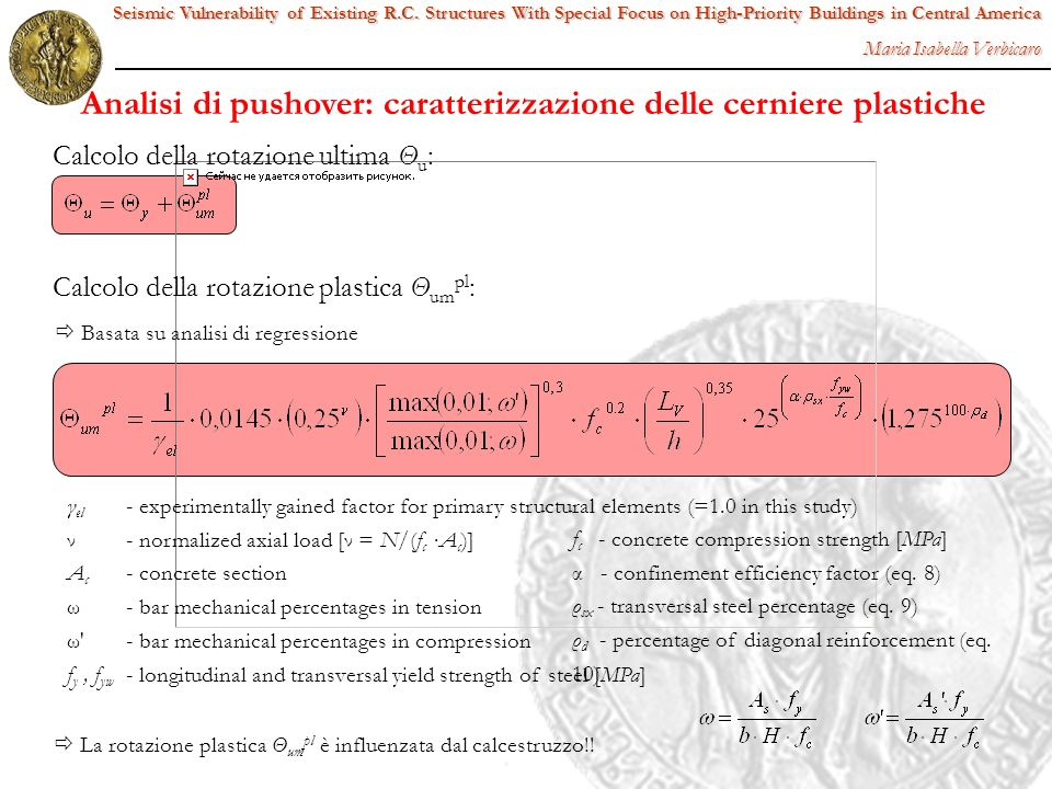γ el - experimentally gained factor for primary structural elements (=1.0 in this study) ν- normalized axial load [ν = N/(f c A c )] A c - concrete se