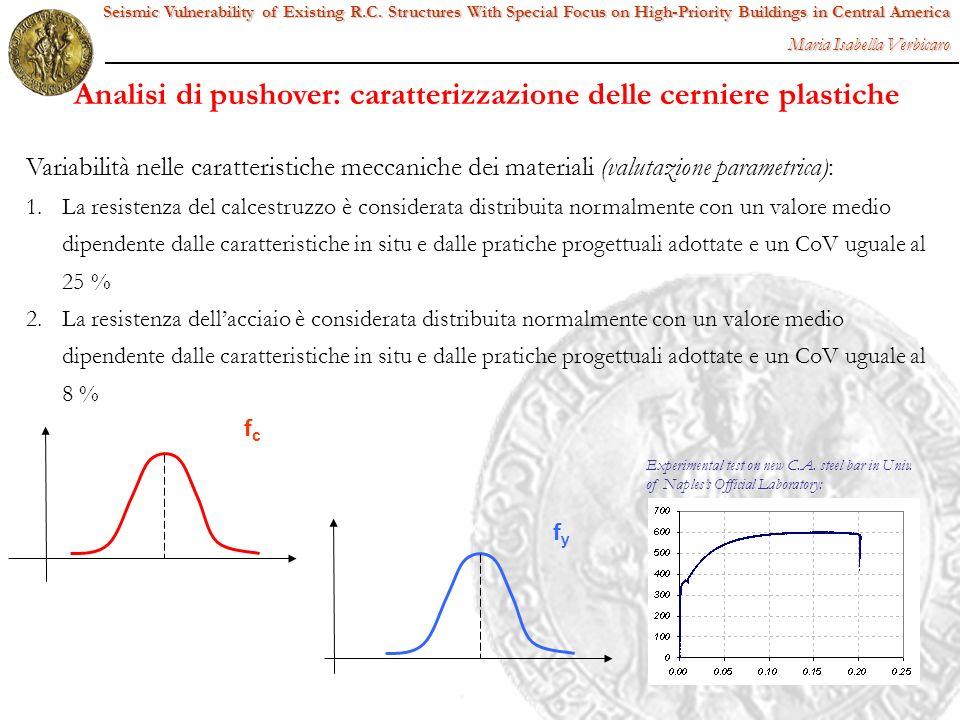 Variabilità nelle caratteristiche meccaniche dei materiali (valutazione parametrica): 1. 1.La resistenza del calcestruzzo è considerata distribuita no