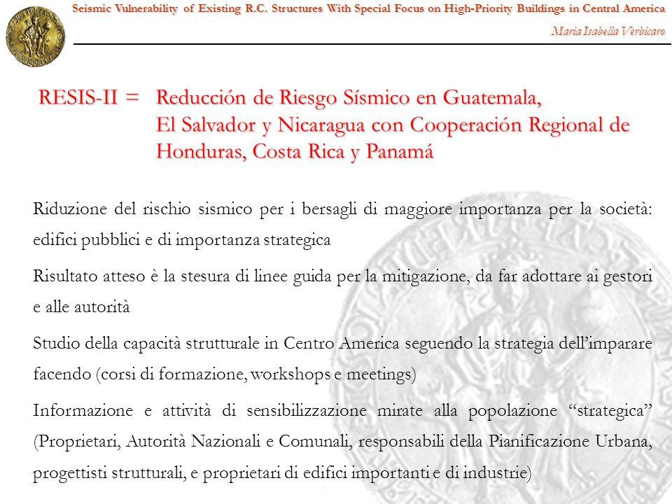 Caratteristiche peculiari: Seismic Vulnerability of Existing R.C.