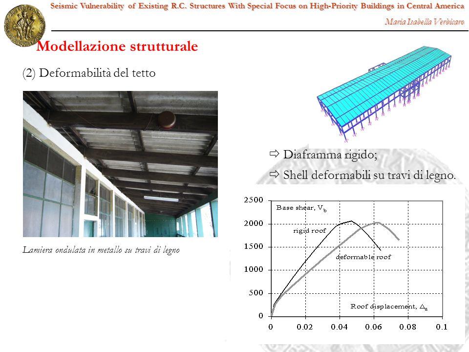 (2) Deformabilità del tetto Lamiera ondulata in metallo su travi di legno Diaframma rigido; Shell deformabili su travi di legno. Seismic Vulnerability