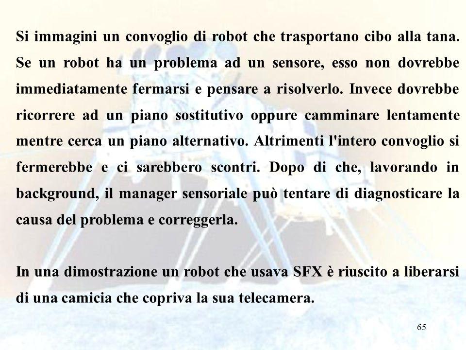 65 Si immagini un convoglio di robot che trasportano cibo alla tana. Se un robot ha un problema ad un sensore, esso non dovrebbe immediatamente fermar