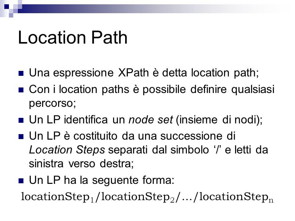 Location Path Una espressione XPath è detta location path; Con i location paths è possibile definire qualsiasi percorso; Un LP identifica un node set (insieme di nodi); Un LP è costituito da una successione di Location Steps separati dal simbolo / e letti da sinistra verso destra; Un LP ha la seguente forma: locationStep 1 /locationStep 2 /.../locationStep n