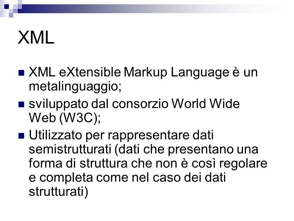 XML XML eXtensible Markup Language è un metalinguaggio; sviluppato dal consorzio World Wide Web (W3C); Utilizzato per rappresentare dati semistrutturati (dati che presentano una forma di struttura che non è così regolare e completa come nel caso dei dati strutturati)