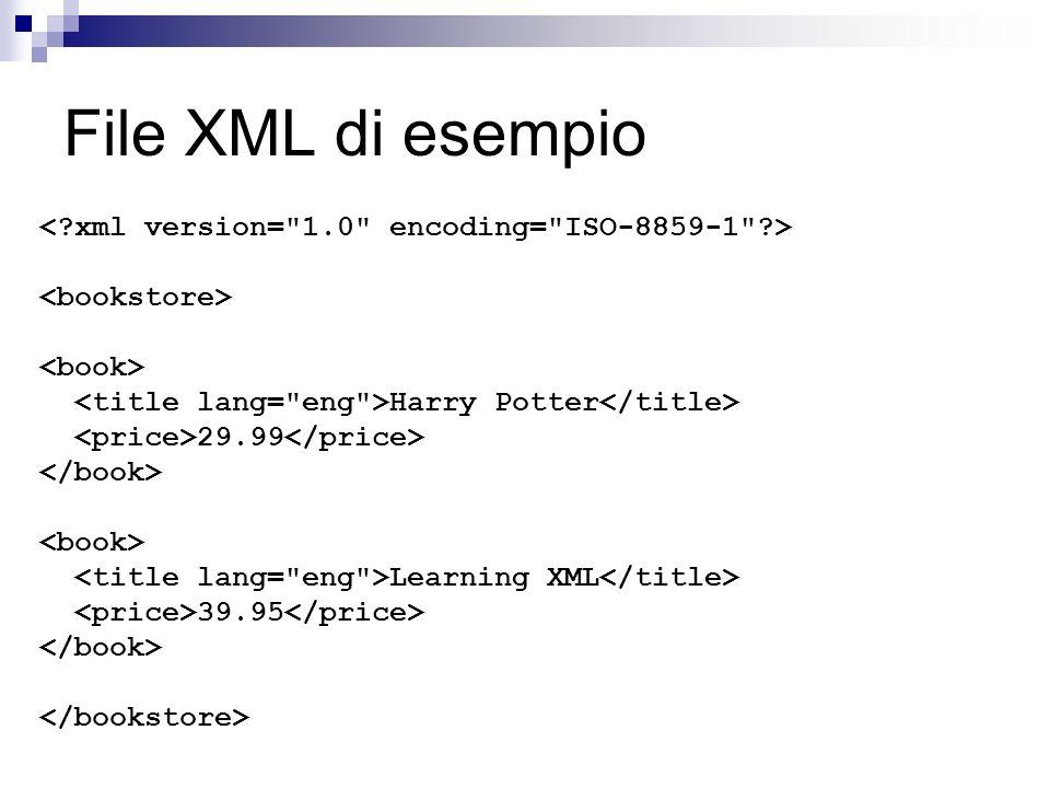 File XML di esempio Harry Potter 29.99 Learning XML 39.95