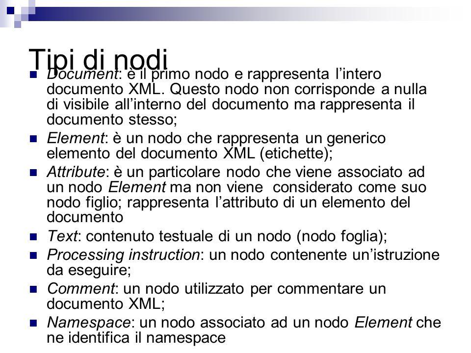 Tipi di nodi Document: è il primo nodo e rappresenta lintero documento XML.