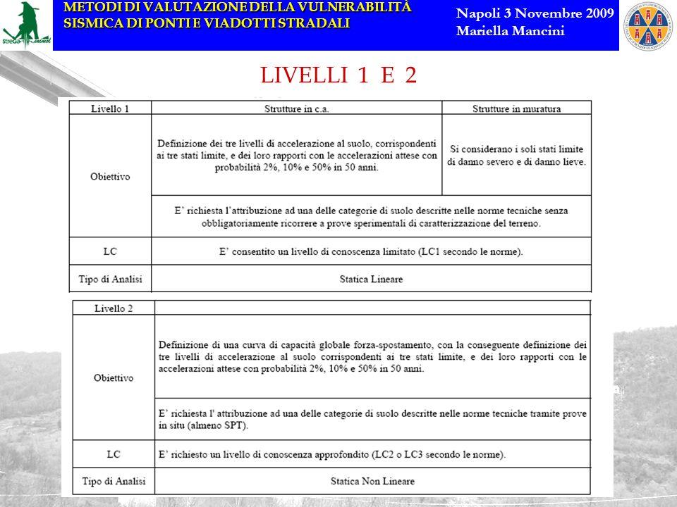 METODI DI VALUTAZIONE DELLA VULNERABILITÀ SISMICA DI PONTI E VIADOTTI STRADALI Napoli 3 Novembre 2009 Mariella Mancini LIVELLI 1 E 2