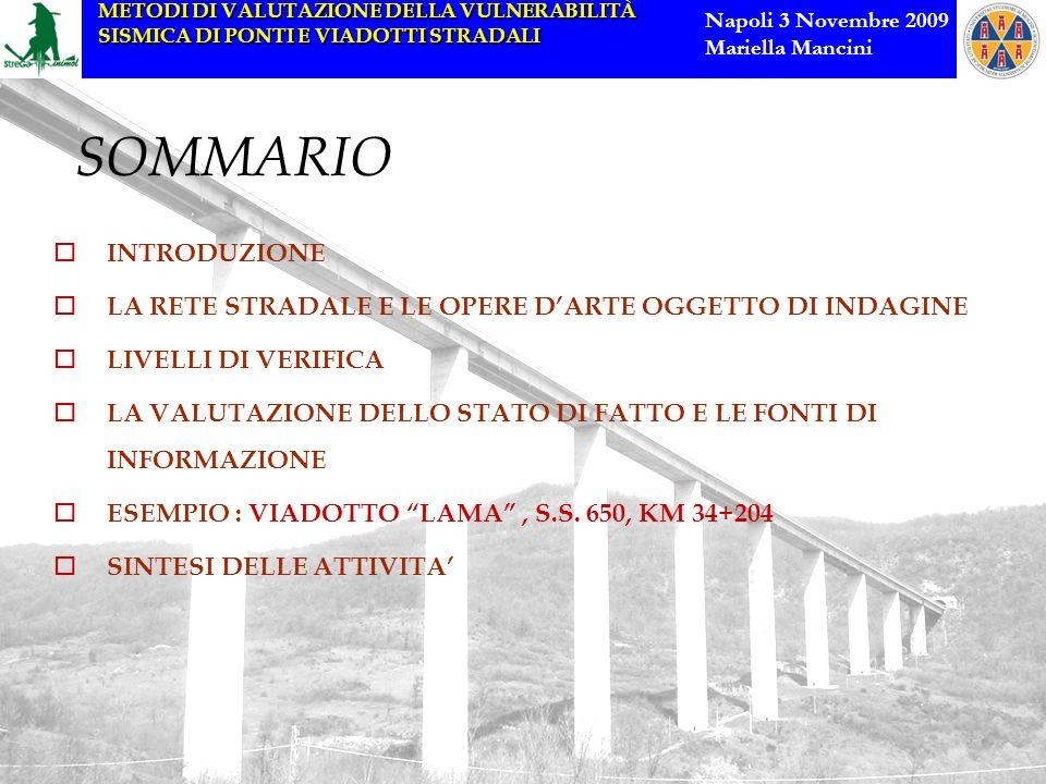METODI DI VALUTAZIONE DELLA VULNERABILITÀ SISMICA DI PONTI E VIADOTTI STRADALI Napoli 3 Novembre 2009 Mariella Mancini SOMMARIO INTRODUZIONE LA RETE S