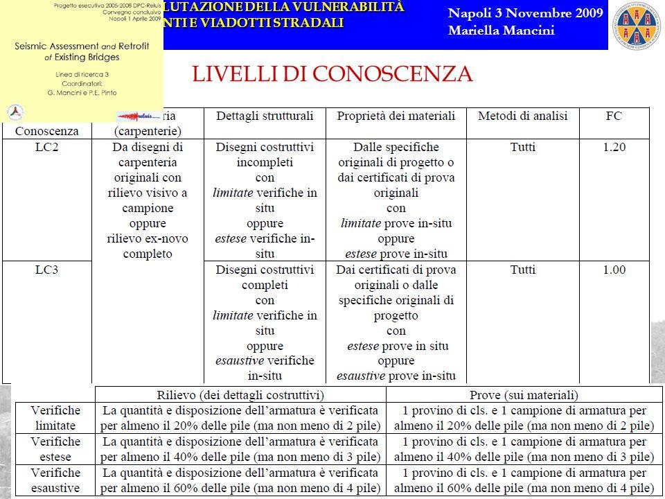 METODI DI VALUTAZIONE DELLA VULNERABILITÀ SISMICA DI PONTI E VIADOTTI STRADALI Napoli 3 Novembre 2009 Mariella Mancini LIVELLI DI CONOSCENZA