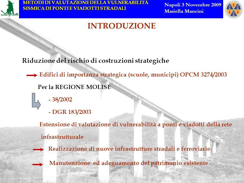 METODI DI VALUTAZIONE DELLA VULNERABILITÀ SISMICA DI PONTI E VIADOTTI STRADALI Napoli 3 Novembre 2009 Mariella Mancini