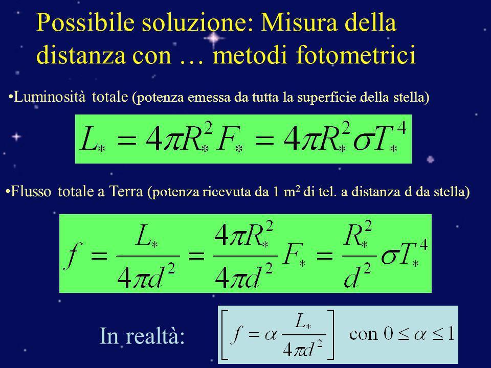 Possibile soluzione: Misura della distanza con … metodi fotometrici Luminosità totale (potenza emessa da tutta la superficie della stella) Flusso tota