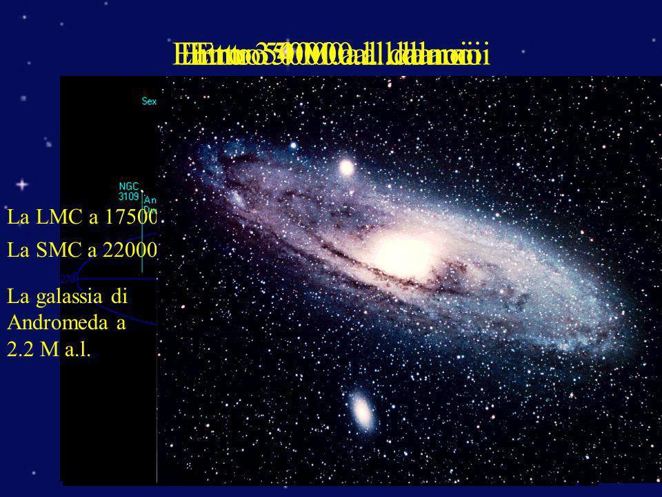 Entro 5000 a.l. da noiEntro 50000 a.l. da noiEntro 350000 a.l. da noiEntro 4 M.a.l. da noi La LMC a 175000 a.l. La SMC a 220000 a.l. La galassia di An