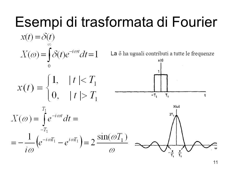 11 Esempi di trasformata di Fourier La δ ha uguali contributi a tutte le frequenze