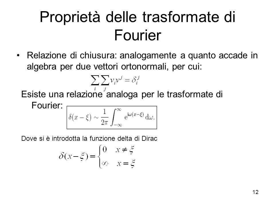 12 Proprietà delle trasformate di Fourier Relazione di chiusura: analogamente a quanto accade in algebra per due vettori ortonormali, per cui: Esiste una relazione analoga per le trasformate di Fourier: Dove si è introdotta la funzione delta di Dirac