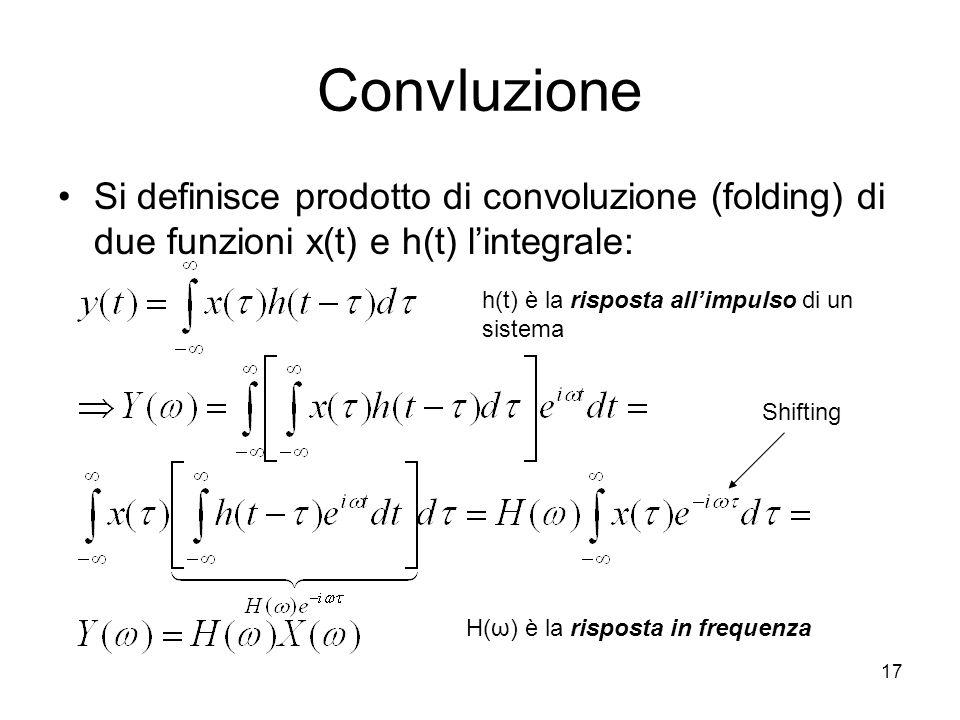17 Convluzione Si definisce prodotto di convoluzione (folding) di due funzioni x(t) e h(t) lintegrale: h(t) è la risposta allimpulso di un sistema H(ω) è la risposta in frequenza Shifting