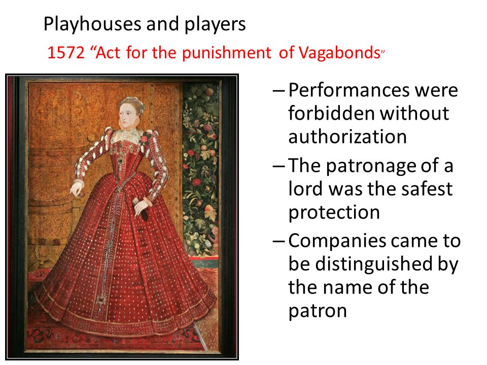 Playhouses and players – Performances were forbidden without authorization – The patronage of a lord was the safest protection – Companies came to be distinguished by the name of the patron 1572 Act for the punishment of Vagabonds