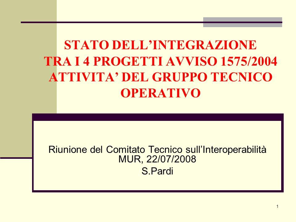 1 STATO DELLINTEGRAZIONE TRA I 4 PROGETTI AVVISO 1575/2004 ATTIVITA DEL GRUPPO TECNICO OPERATIVO Riunione del Comitato Tecnico sullInteroperabilità MU