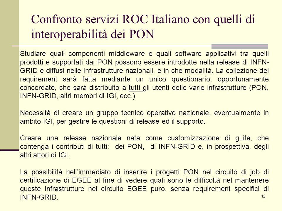 12 Confronto servizi ROC Italiano con quelli di interoperabilità dei PON Studiare quali componenti middleware e quali software applicativi tra quelli