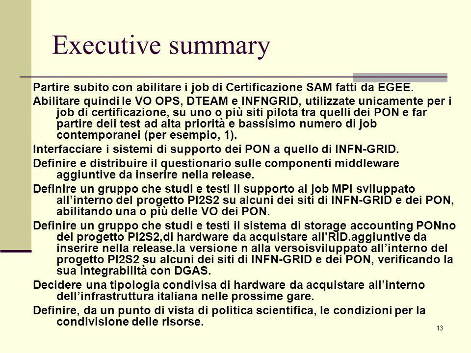 13 Executive summary Partire subito con abilitare i job di Certificazione SAM fatti da EGEE. Abilitare quindi le VO OPS, DTEAM e INFNGRID, utilizzate