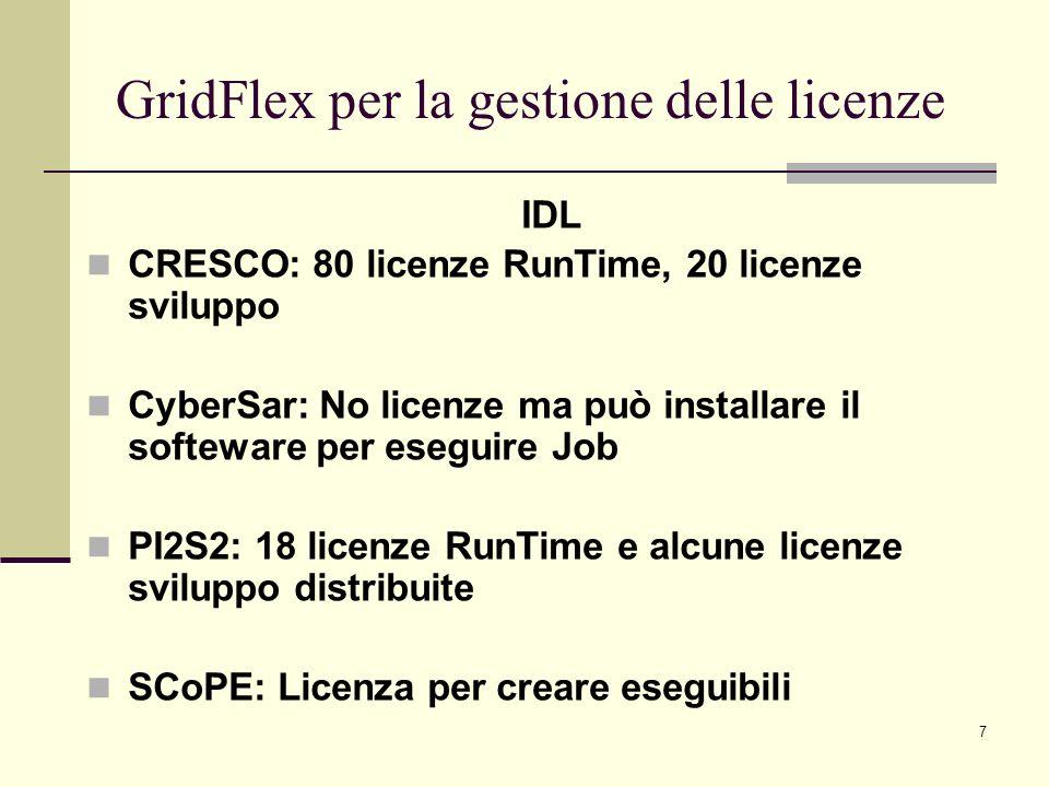 7 IDL CRESCO: 80 licenze RunTime, 20 licenze sviluppo CyberSar: No licenze ma può installare il softeware per eseguire Job PI2S2: 18 licenze RunTime e alcune licenze sviluppo distribuite SCoPE: Licenza per creare eseguibili GridFlex per la gestione delle licenze