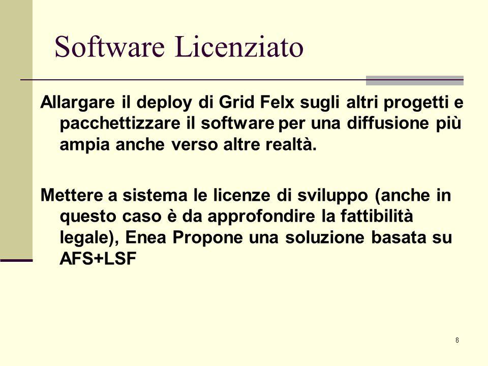 8 Allargare il deploy di Grid Felx sugli altri progetti e pacchettizzare il software per una diffusione più ampia anche verso altre realtà. Mettere a