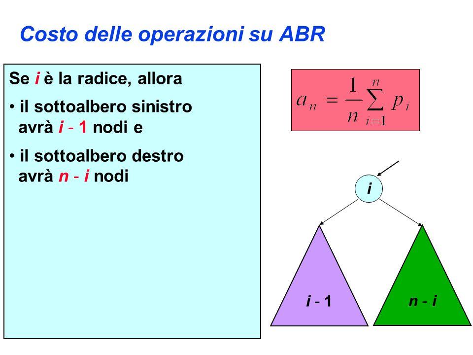 Costo delle operazioni su ABR Se i è la radice, allora il sottoalbero sinistro avrà i - 1 nodi e il sottoalbero destro avrà n - i nodi i i - 1 n - in - i