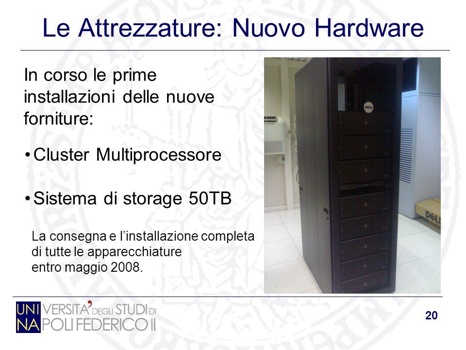 20 Le Attrezzature: Nuovo Hardware In corso le prime installazioni delle nuove forniture: Cluster Multiprocessore Sistema di storage 50TB La consegna e linstallazione completa di tutte le apparecchiature entro maggio 2008.