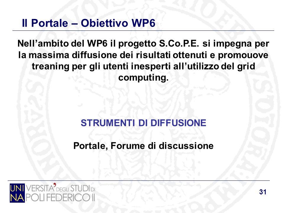31 Il Portale – Obiettivo WP6 Nellambito del WP6 il progetto S.Co.P.E.