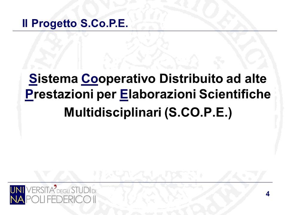 4 Sistema Cooperativo Distribuito ad alte Prestazioni per Elaborazioni Scientifiche Multidisciplinari (S.CO.P.E.) Il Progetto S.Co.P.E.