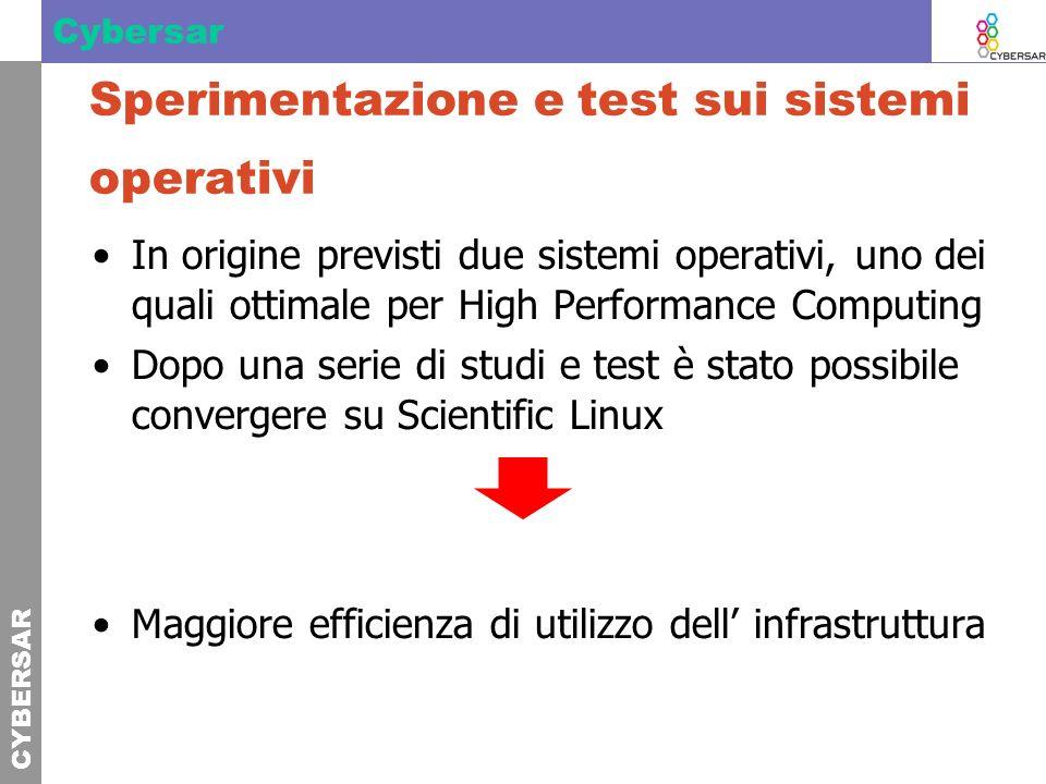 CYBERSAR Cybersar Sperimentazione e test sui sistemi operativi In origine previsti due sistemi operativi, uno dei quali ottimale per High Performance
