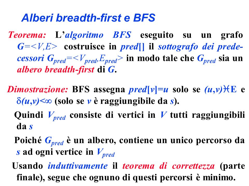 Alberi breadth-first e BFS Teorema: Lalgoritmo BFS eseguito su un grafo G= costruisce in pred[] il sottografo dei prede- cessori G pred = in modo tale