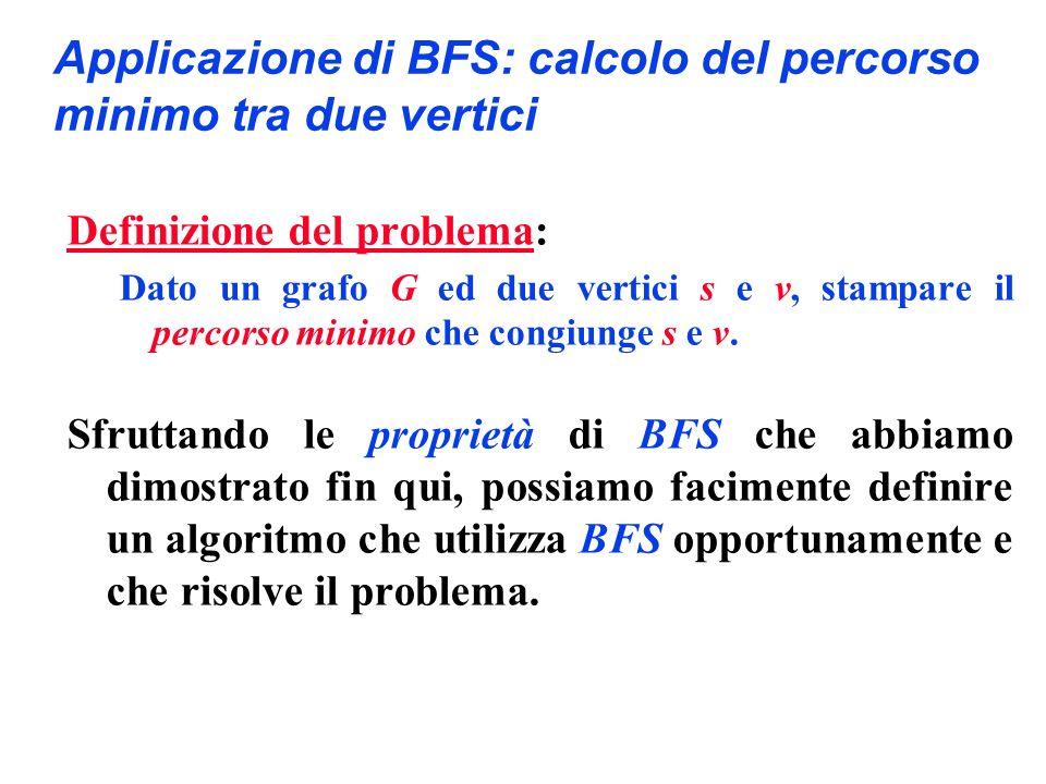 Applicazione di BFS: calcolo del percorso minimo tra due vertici Definizione del problema: Dato un grafo G ed due vertici s e v, stampare il percorso