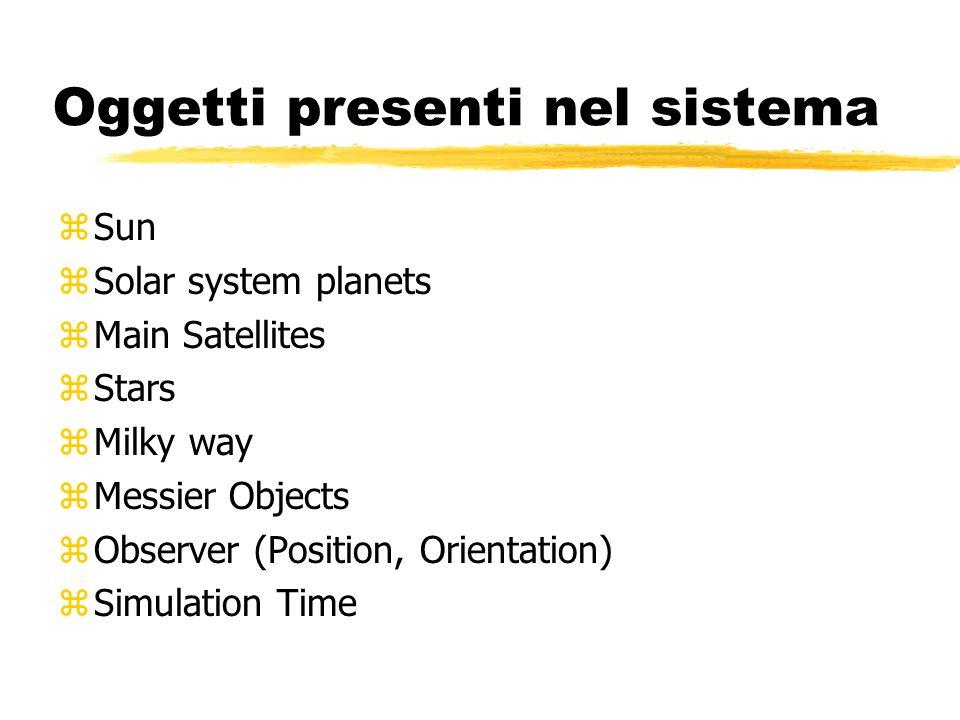 Oggetti presenti nel sistema zSun zSolar system planets zMain Satellites zStars zMilky way zMessier Objects zObserver (Position, Orientation) zSimulation Time