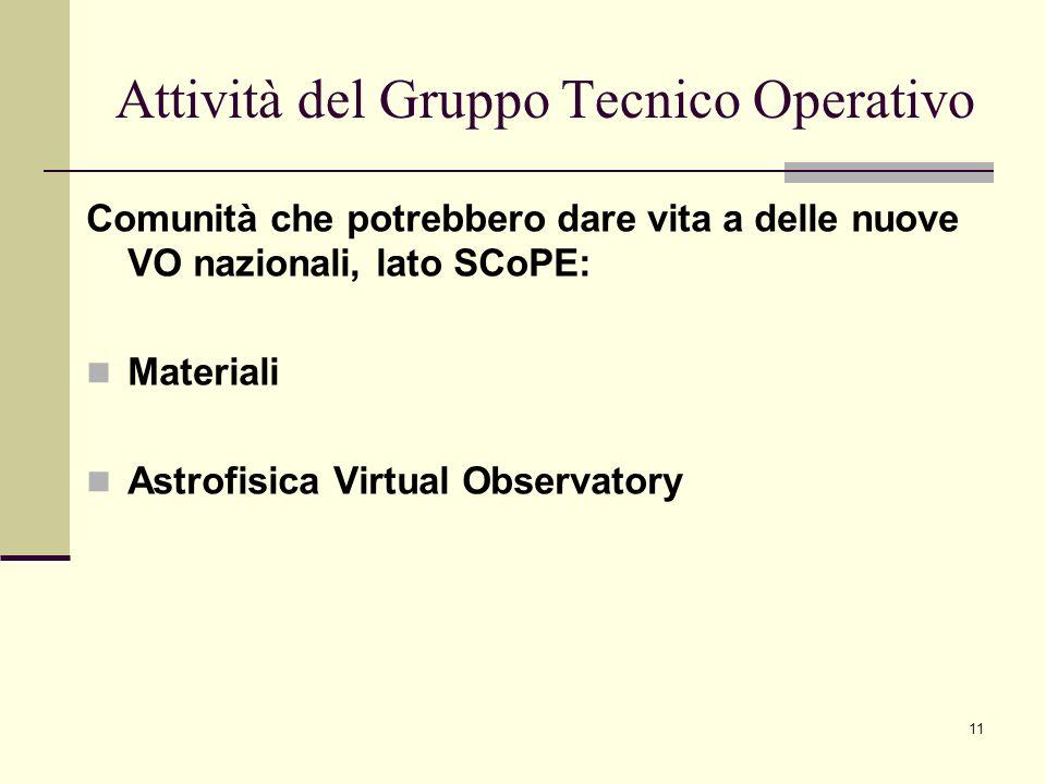11 Comunità che potrebbero dare vita a delle nuove VO nazionali, lato SCoPE: Materiali Astrofisica Virtual Observatory Attività del Gruppo Tecnico Operativo