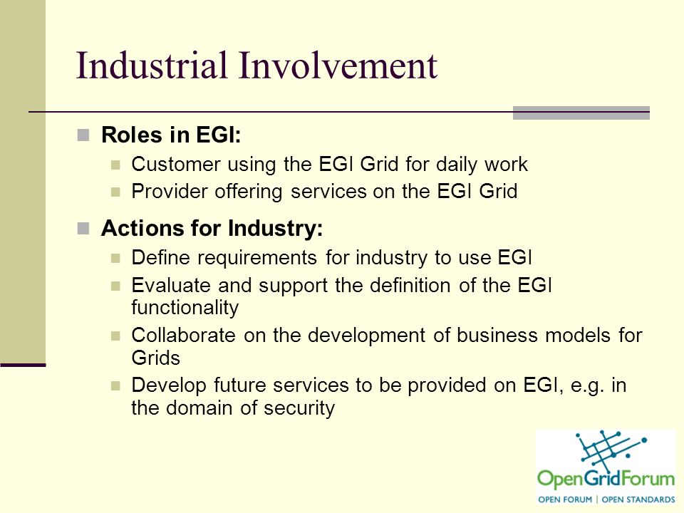 18 Industrial Involvement Roles in EGI: Customer using the EGI Grid for daily work Provider offering services on the EGI Grid Actions for Industry: Define requirements for industry to use EGI Evaluate and support the definition of the EGI functionality Collaborate on the development of business models for Grids Develop future services to be provided on EGI, e.g.