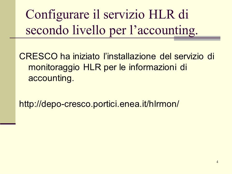 4 CRESCO ha iniziato linstallazione del servizio di monitoraggio HLR per le informazioni di accounting.