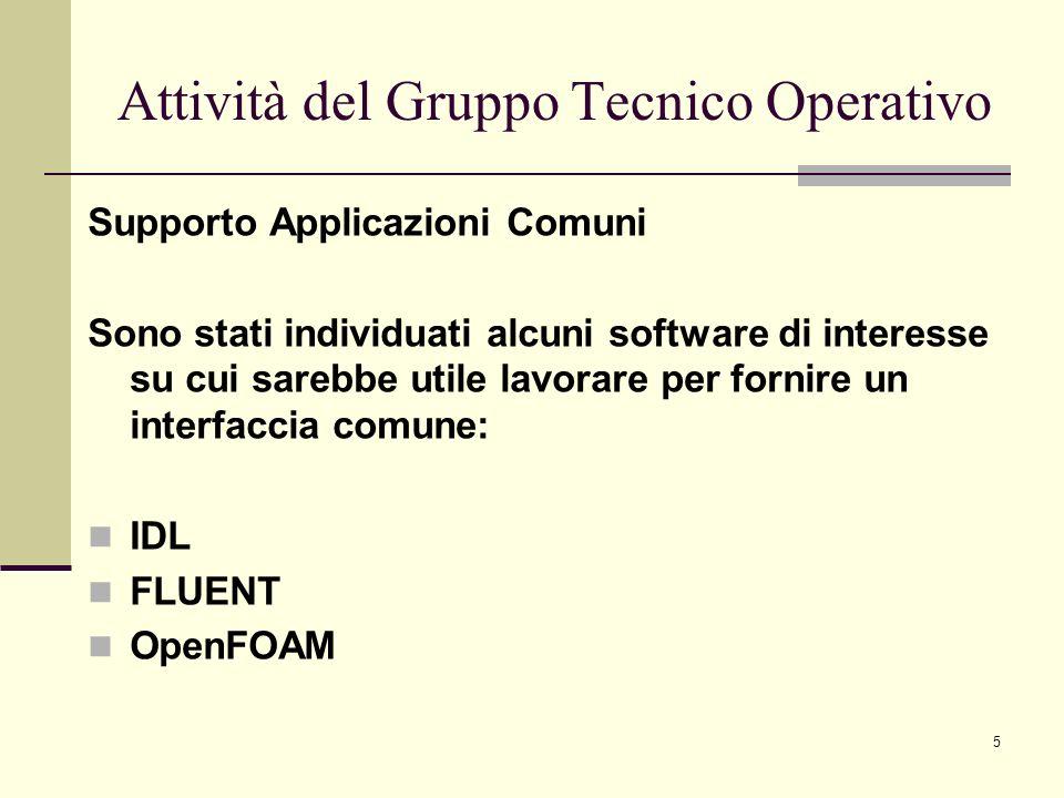 5 Supporto Applicazioni Comuni Sono stati individuati alcuni software di interesse su cui sarebbe utile lavorare per fornire un interfaccia comune: IDL FLUENT OpenFOAM Attività del Gruppo Tecnico Operativo