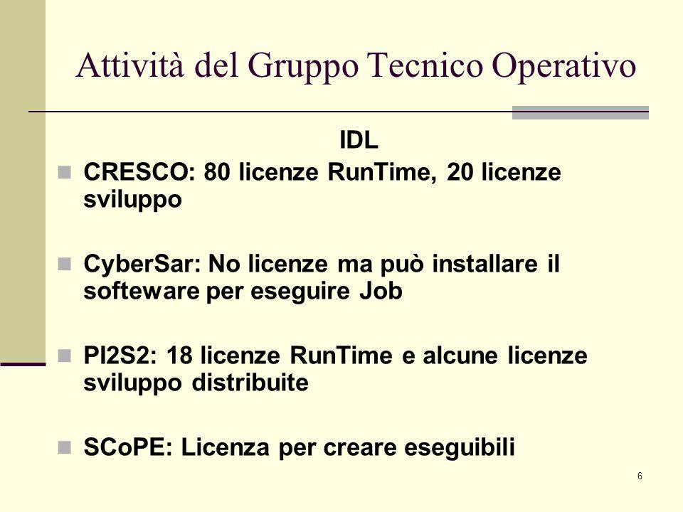 6 IDL CRESCO: 80 licenze RunTime, 20 licenze sviluppo CyberSar: No licenze ma può installare il softeware per eseguire Job PI2S2: 18 licenze RunTime e alcune licenze sviluppo distribuite SCoPE: Licenza per creare eseguibili Attività del Gruppo Tecnico Operativo