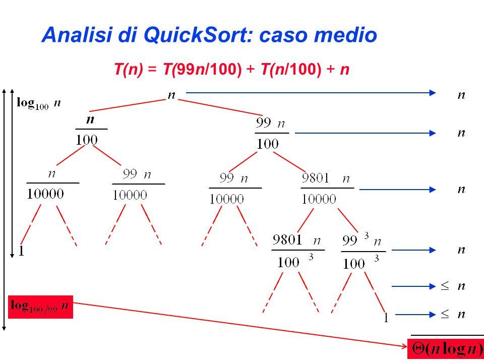 Analisi di QuickSort: caso medio T(n) = T(99n/100) + T(n/100) + n