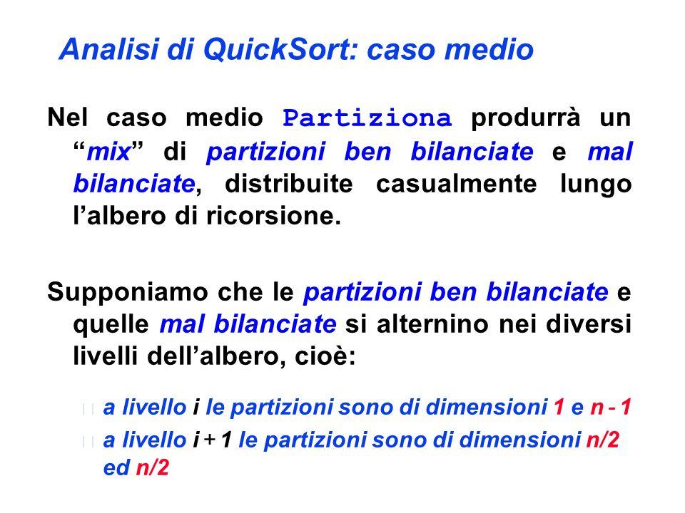 Analisi di QuickSort: caso medio Nel caso medio Partiziona produrrà unmix di partizioni ben bilanciate e mal bilanciate, distribuite casualmente lungo lalbero di ricorsione.