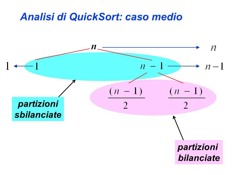 Analisi di QuickSort: caso medio partizioni sbilanciate partizioni bilanciate