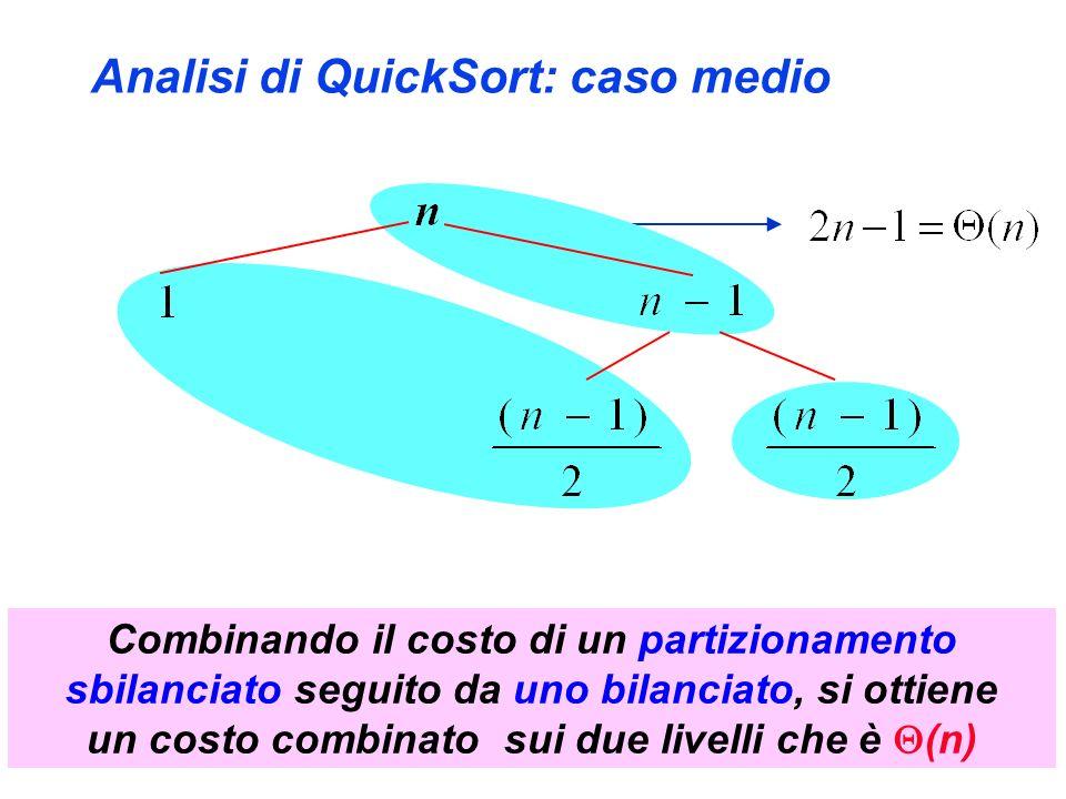 Analisi di QuickSort: caso medio Combinando il costo di un partizionamento sbilanciato seguito da uno bilanciato, si ottiene un costo combinato sui due livelli che è (n)