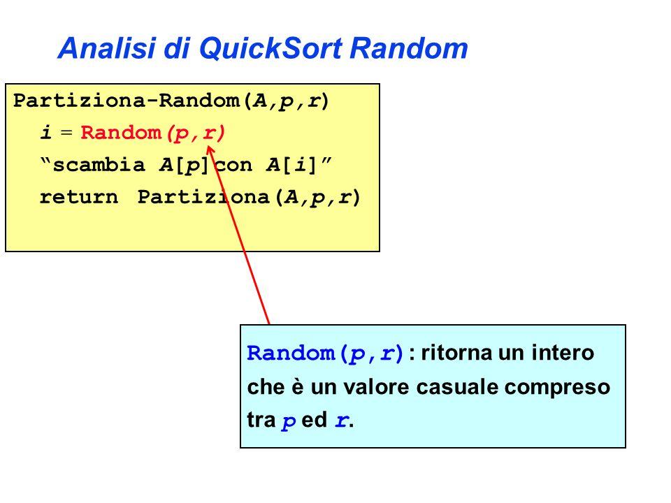Analisi di QuickSort Random Partiziona-Random(A,p,r) i = Random(p,r) scambia A[p]con A[i] return Partiziona(A,p,r) Random(p,r) : ritorna un intero che è un valore casuale compreso tra p ed r.