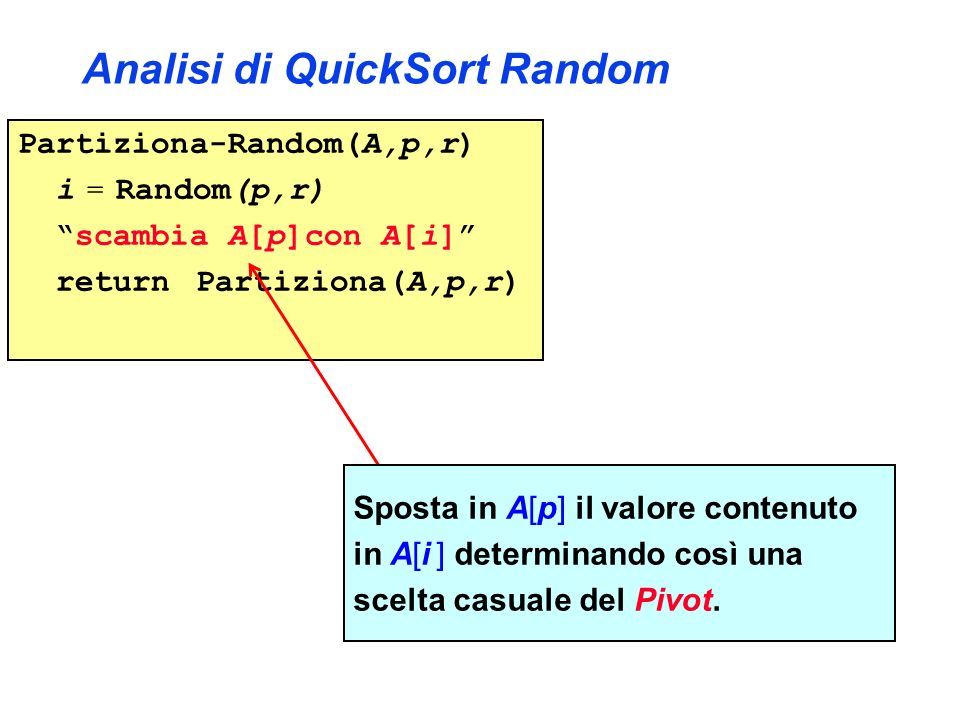 Analisi di QuickSort Random Partiziona-Random(A,p,r) i = Random(p,r) scambia A[p]con A[i] return Partiziona(A,p,r) Sposta in A[p] il valore contenuto in A[i ] determinando così una scelta casuale del Pivot.