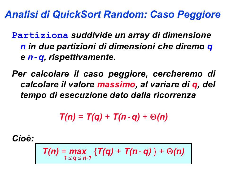 Analisi di QuickSort Random: Caso Peggiore Partiziona suddivide un array di dimensione n in due partizioni di dimensioni che diremo q e n - q, rispettivamente.